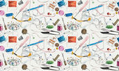 Seamless pattern with sewing & embroidery tools. — Stock Photo