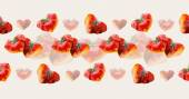 Heart strawberries border. Pattern from strawberries. Wedding drawings. — Stock Photo