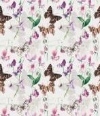 Seamless pattern of Sweet pea flowers. — Stock Photo