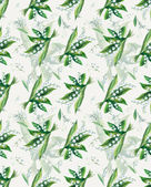 Seamless pattern of lily of the valley. Flowers background, watercolor composition. — Stock Photo