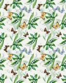 Seamless pattern of lily of the valley. Flowers and butterflies background, watercolor composition. — Stock Photo