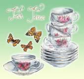 Tea Garden. Tea time card. Butterflies. — Foto de Stock