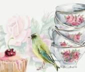 Tea Garden. Tea time card. Greenfinch pecks cake. Cup and cake. — Stock Photo