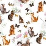 Seamless cats & butterflies. — Stock Photo #57058905