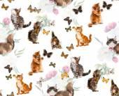 Seamless cats & butterflies. — Stock Photo