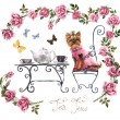 Tea table in the garden. Two cup of tea. Frame from pink roses. Invitation to tea drinking. — Stock Photo #58933865