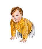 Baby starting to crawl. — Stock Photo