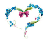 Heart frame from blue flowers. Forget me not — Stock Photo