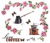 Время кофе. чашка с кофе и повысилась отделение. — Стоковое фото