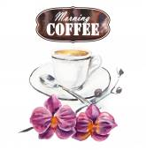 Coffee Time. Cup with coffee and a flowers branch. — Stock Photo