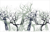 Deciduous wood. Silhouettes of apple-trees. — Stockvector
