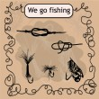 Постер, плакат: We go fishing Knots and hooks for fishing Fishing hook collection