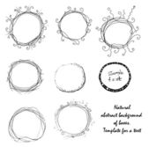 Set of dainty black and white hand-drawn floral and foliate borders and wreaths for decorative design elements — Stock Vector