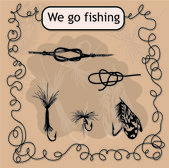 We go fishing. Knots and hooks for fishing. Fishing hook collection. — Stock Vector