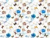 シームレスです。編み物・蝶のためのツール. — ストック写真