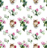 Seamless pattern roses and kitten. — Stock Photo