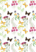 Seamless meadow flowers and butterflies. — Stock Photo