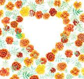 Heart frame from marigolds. Flower backdrop. — Stock Photo