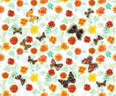 Marigolds and butterflies seamless. — Stock Photo
