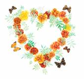 Heart frame from marigolds and butterflies. — Stock Photo