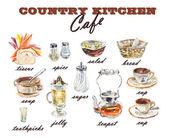 Set Dish. Country kitchen. — Stock Photo