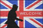 Man and britain flag — Stock Photo