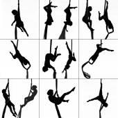 Dancer on aerial silk — Stock Photo