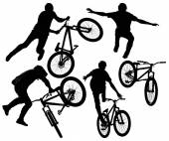 Bmx riders silhouette — Stock Photo