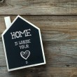 House Shaped Chalkboard sign on rustic wood HOME WHEREVER YOUR HEART IS — Stock Photo #57762485