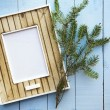 Greeting christmas card frame over old vintage wooden  backgroun — Stock Photo #58855353