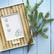 Greeting christmas card frame over old vintage wooden  backgroun — Stock Photo #58855369