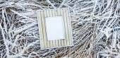 Old wooden frame over frozen grass. — Stok fotoğraf