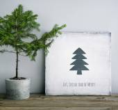 Christmas wooden poster — Stock Photo