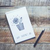 Paper Sketch Book with Hand-drown Flower — Stock Photo