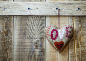 Handmade heart hanging — Stock Photo