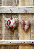 Two hearts hanging — Stock Photo