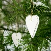 Rustic old wood christmas decorations — Stock fotografie
