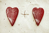 Red heart on the sandy beach — Stock Photo