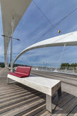 The Raymond Barre bridge with bench in Lyon — Stock Photo