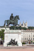 Famous Statue and Fourviere basilica on a background in Lyon cit — Stock Photo