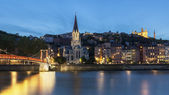 Panoramic blue hour view of Lyon with Saone river — Stock Photo
