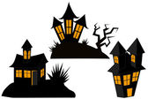 Set of witch's houses for Halloween — Stock Vector