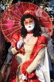 Woman in Venetian costume at Venice carnival — Stock Photo