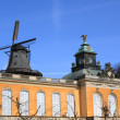 Windmill and royal residence of Schloss Sanssouci of Potsdam, Germany — Stock Photo #55252603