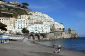 Amalfi beach and Positano village, Italy — Stock Photo