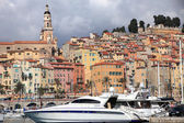 Menton cityscape and harbour — Stock Photo