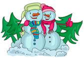 Snowmen — Stockvektor