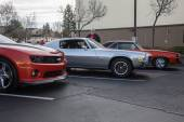 Camaro SS 1969 1970 2014 all in a row — Stock Photo