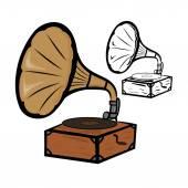 Gammal grammofon — Stockvektor