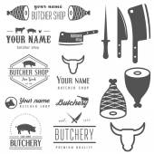 Set of vintage logo and logotype elements for butchery and butcher shop — Stock Vector